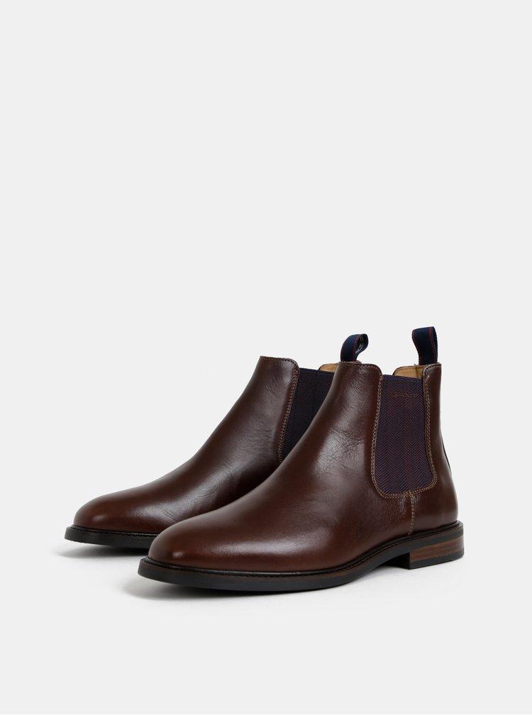 Tmavohnedé pánske kožené chelsea topánky GANT Ricardo