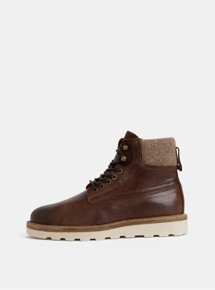 Tmavohnedé pánske kožené členkové zimné topánky s vlnenou podšívkou GANT Don