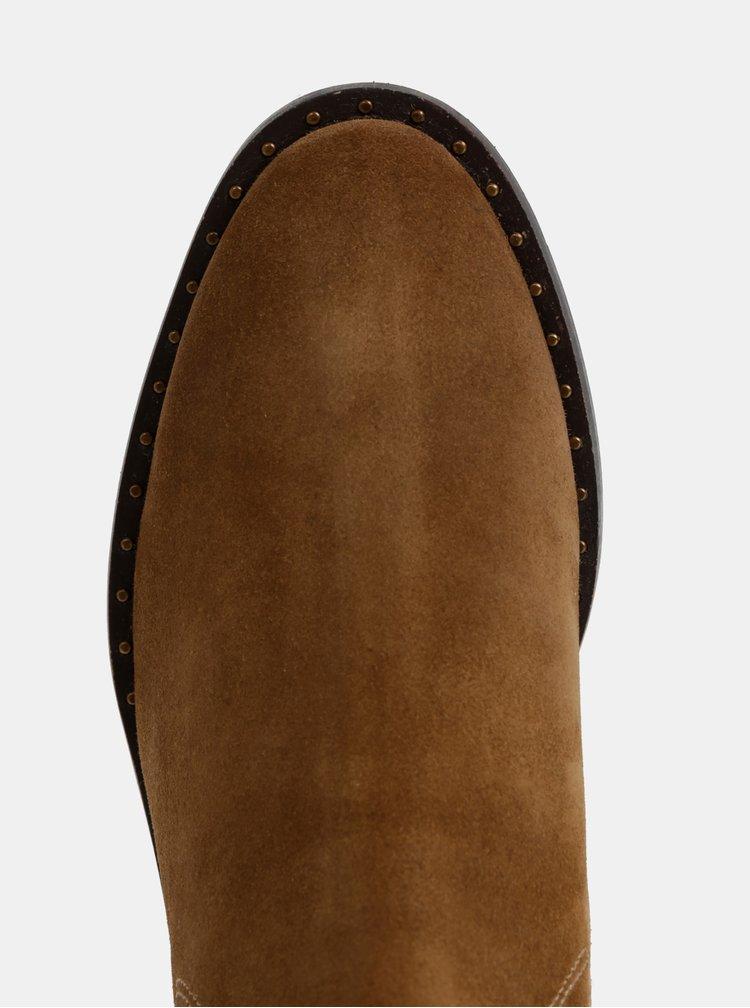 Hnědé dámské semišové chelsea boty GANT Hampton