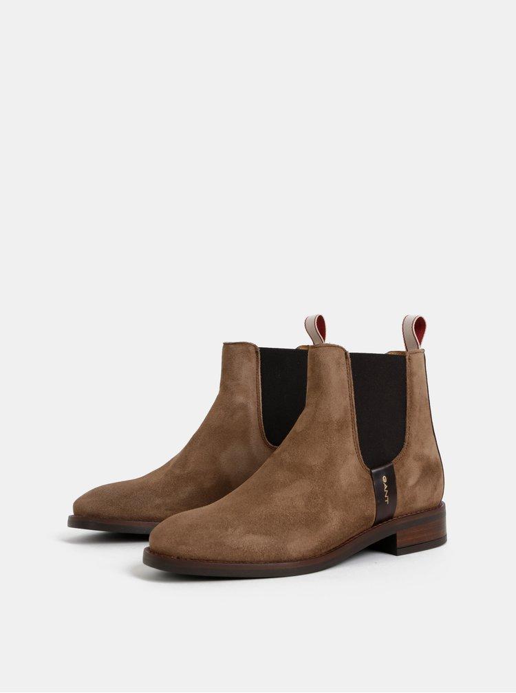 Hnedé dámske semišové chelsea topánky GANT Fay