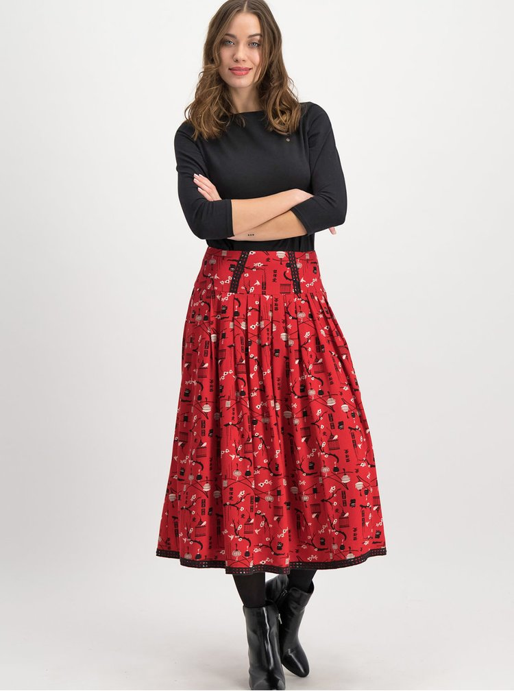 Červená vzorovaná midi sukňa Blutsgeschwister Corowningday