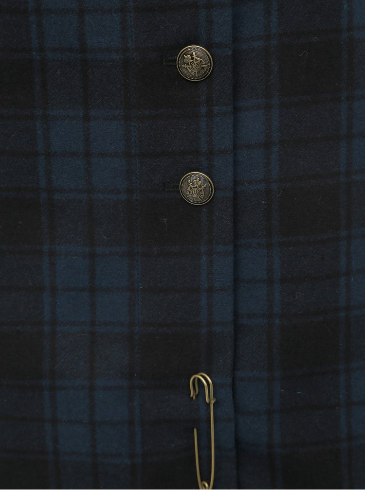 Tmavomodrá kockovaná vlnená sukňa Blutsgeschwister Dudelpipe