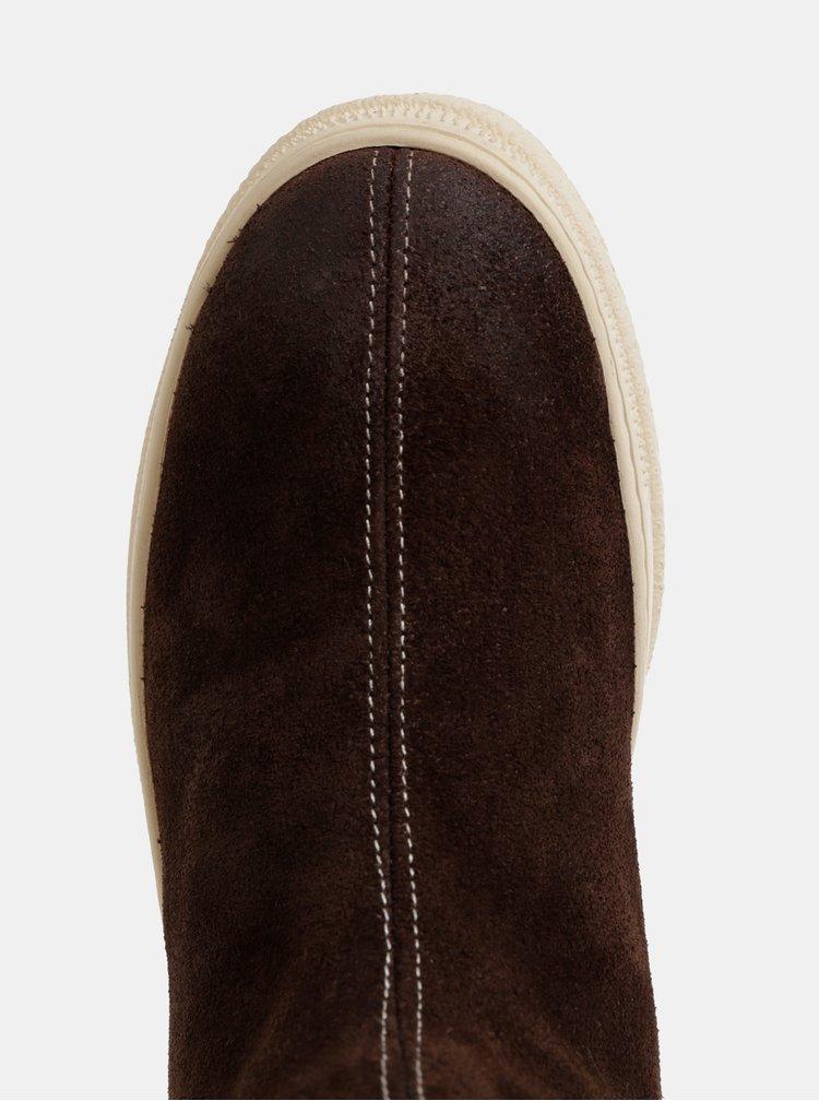 Tmavě hnědé dámské semišové kotníkové zimní boty s vlněnou podšívkou GANT Maria