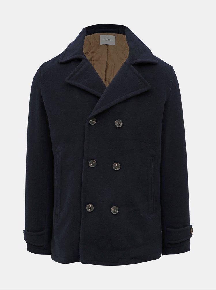 Tmavě modrý vlněný krátký kabát Selected Homme Matt