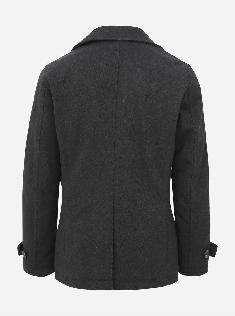 Tmavě šedý vlněný krátký kabát Selected Homme Matt