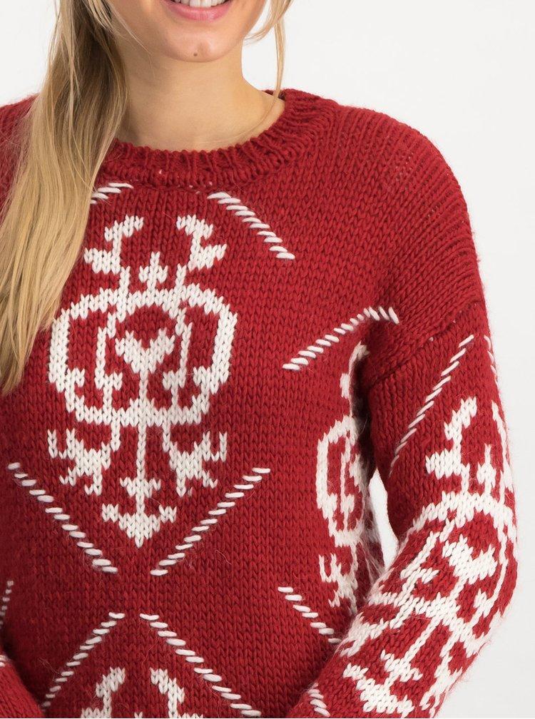 Červený vzorovaný svetr s příměsí vlny Blutsgeschwister Molly Wolly