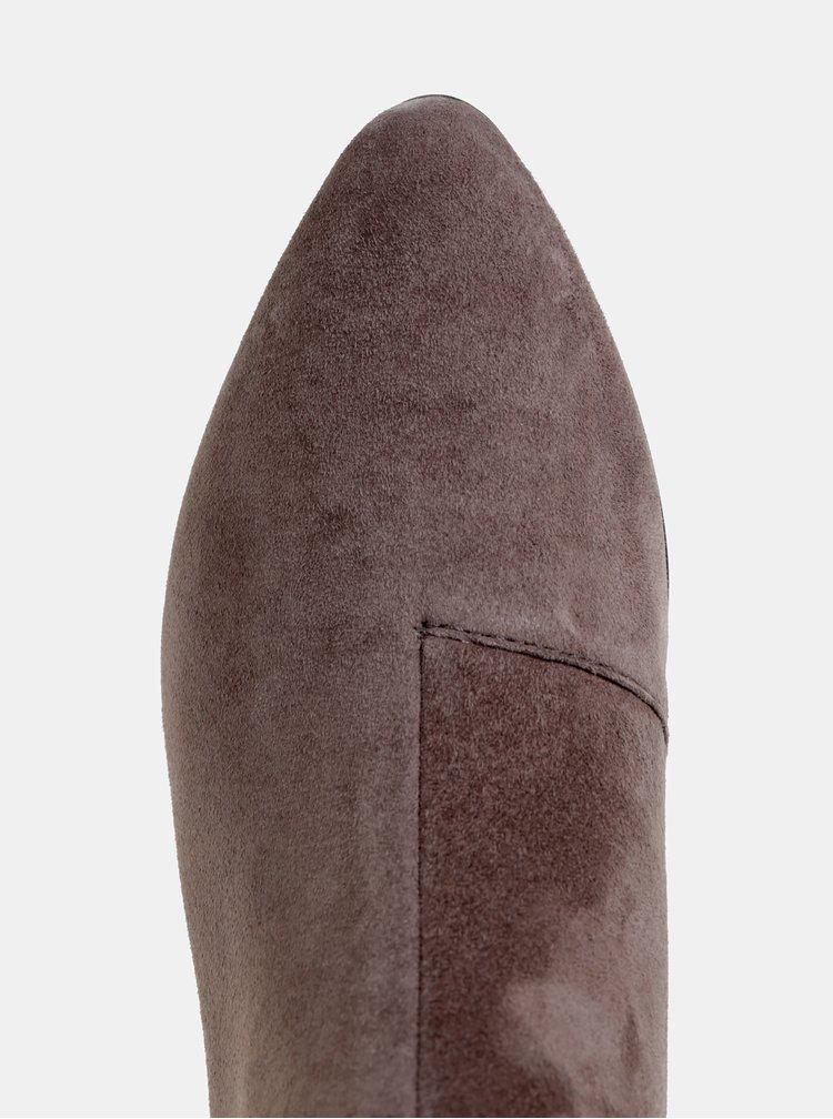 Šedé dámske semišové kotníkové topánky Geox Peython