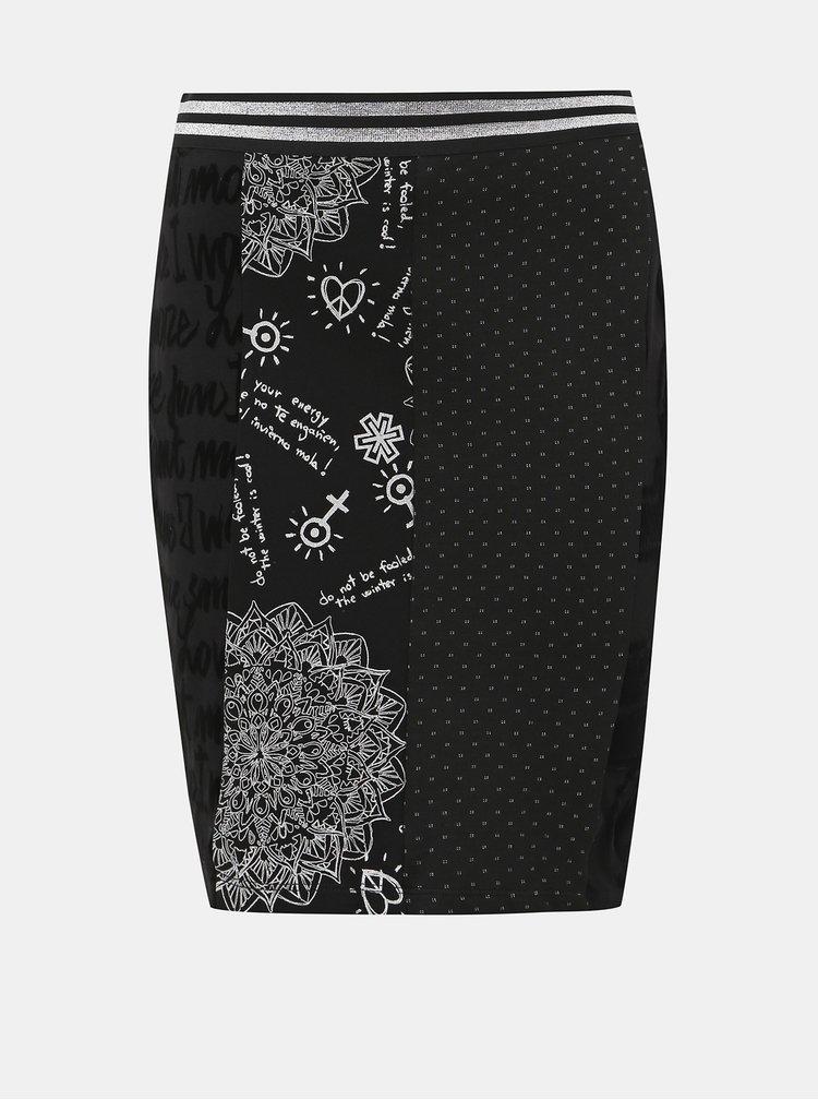 Čierna vzorovaná sukňa Desigual Fal Craig