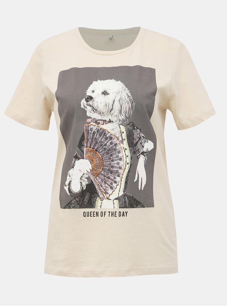 Krémové tričko s potlačou ONLY Ria