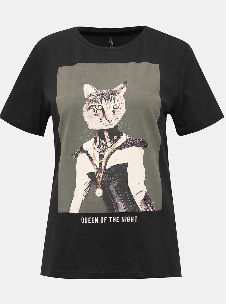 Čierne tričko s potlačou ONLY Ria