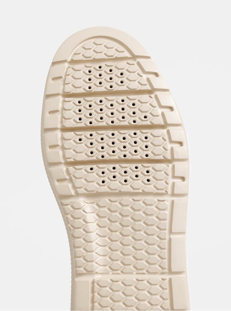 Hořčicové dámské kožené zimní voděodolné tenisky s umělým kožíškem Geox Kaula