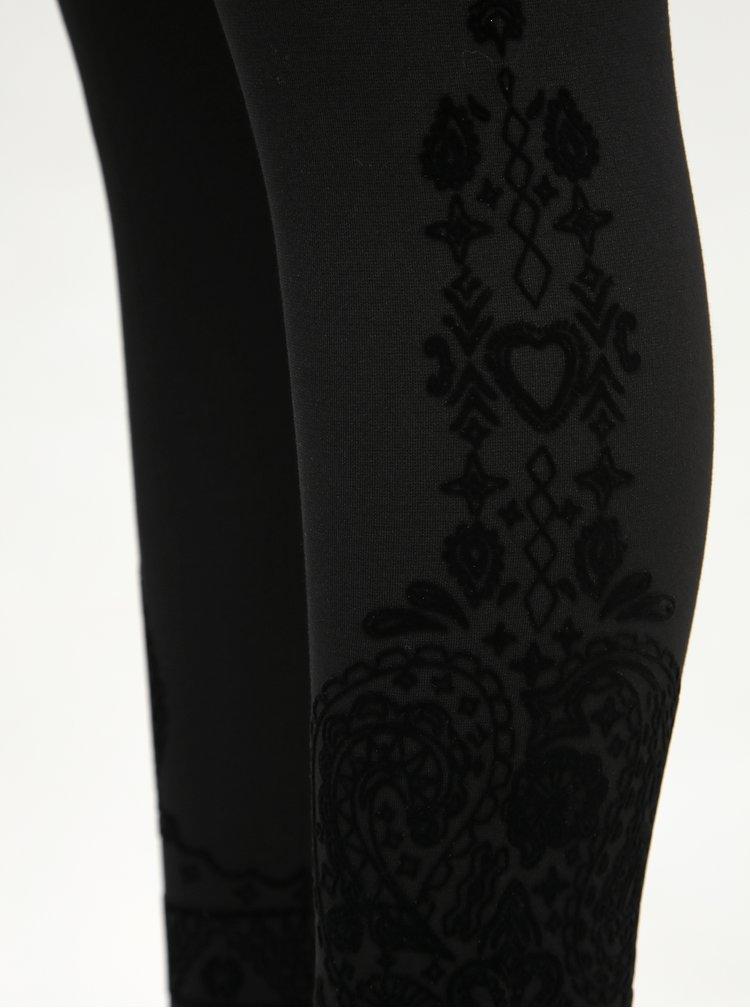 Čierne vzorované legíny Desigual Pant Glen