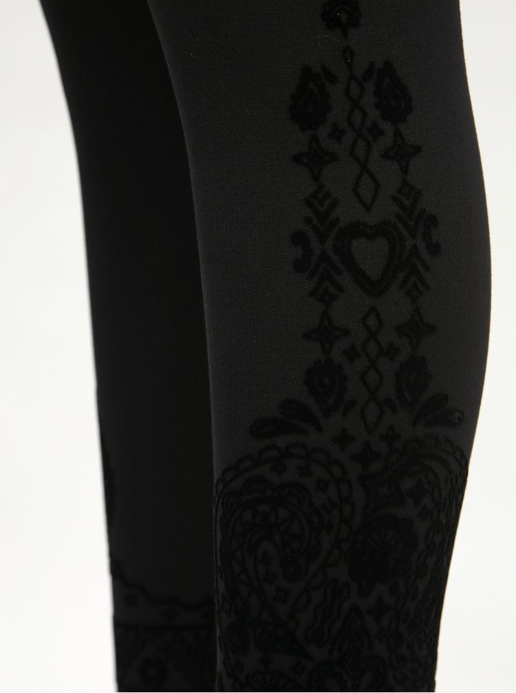 Černé vzorované legíny Desigual Pant Glen