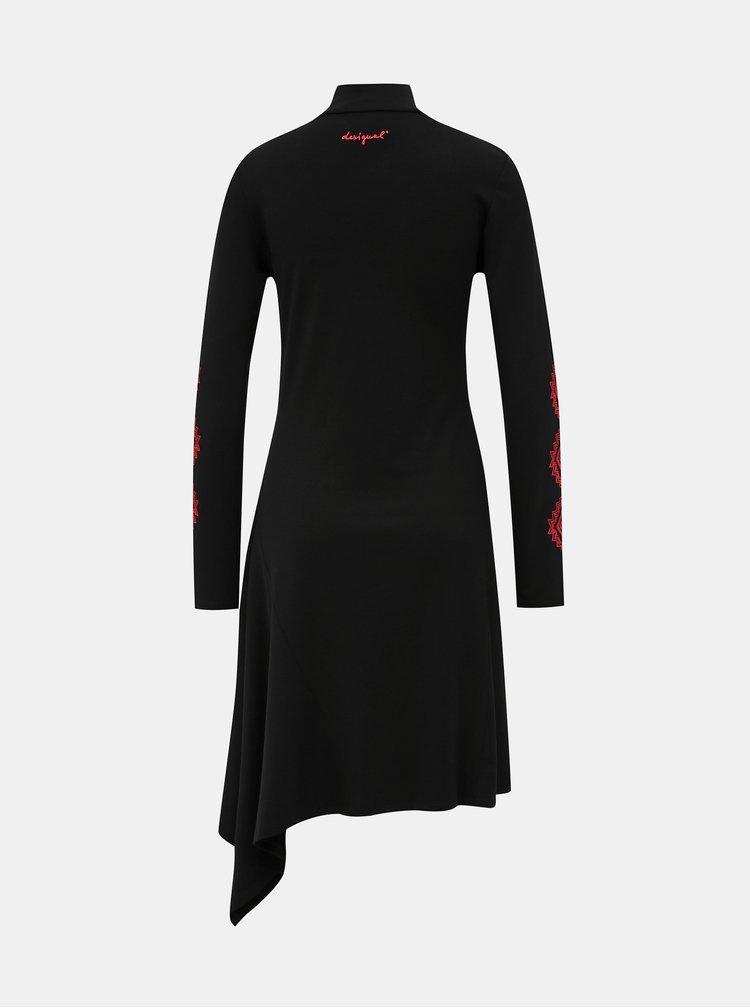Čierne  asymetrické šaty Desigual Vest Melissa