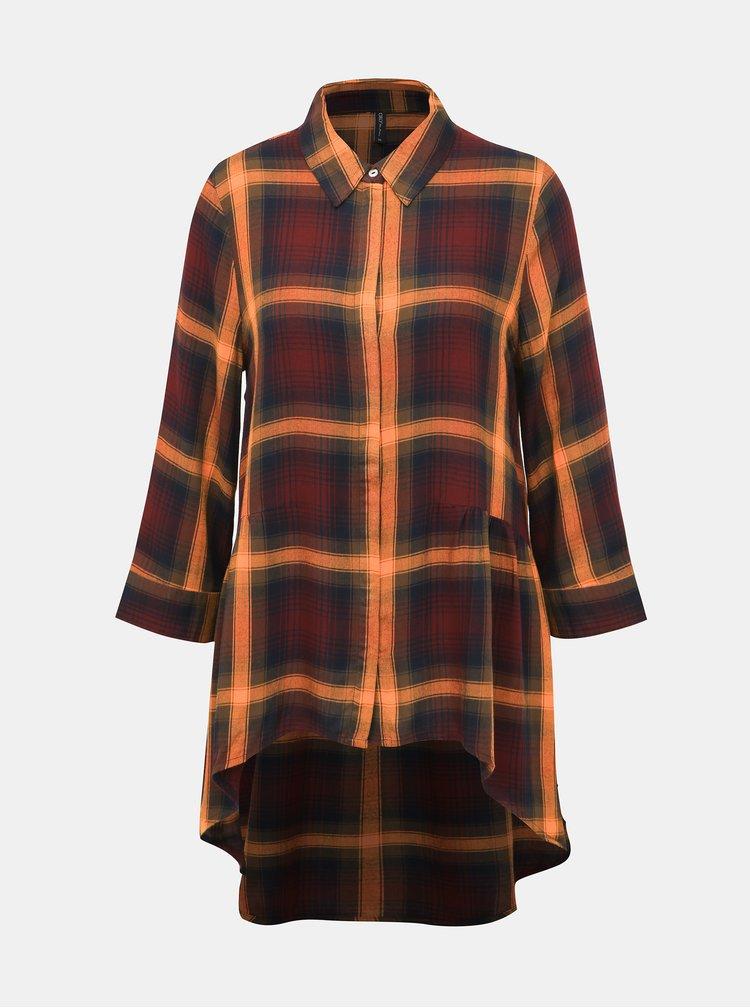 Oranžovo-vínová kostkovaná prodloužená košile ONLY Canberra