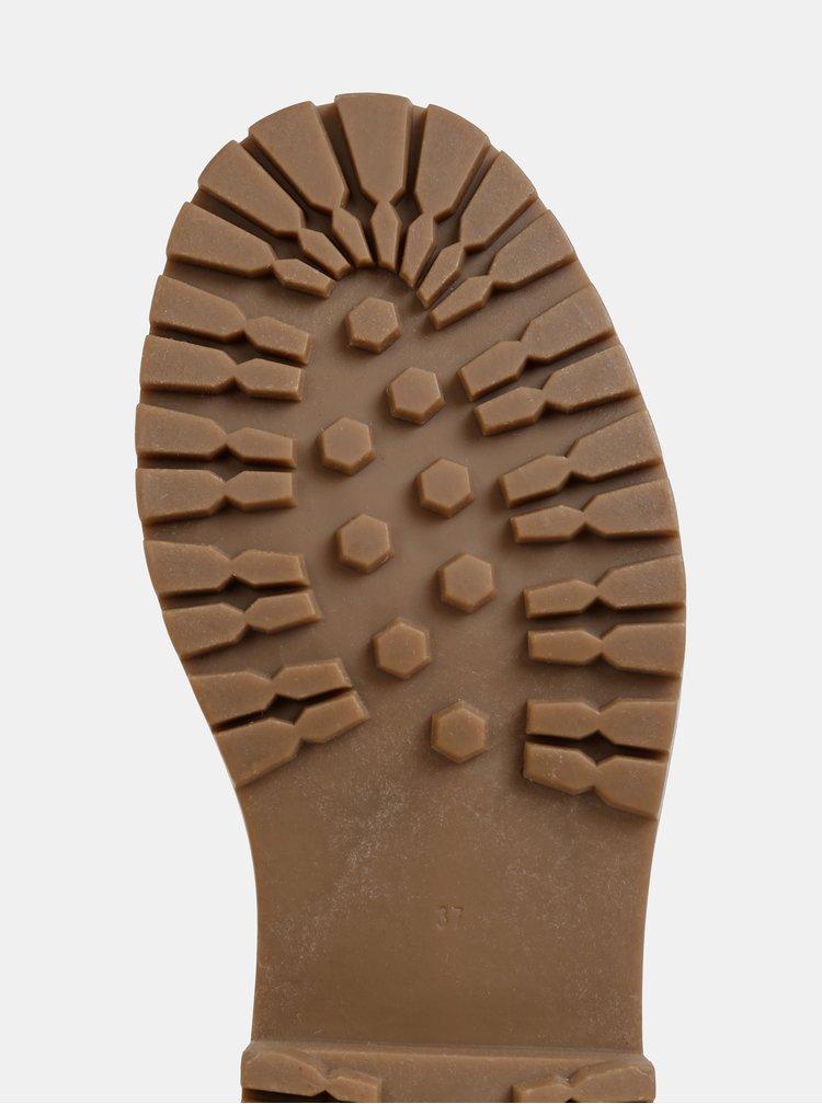 Béžové členkové zimné topánky v semišovej úprave ONLY Bold