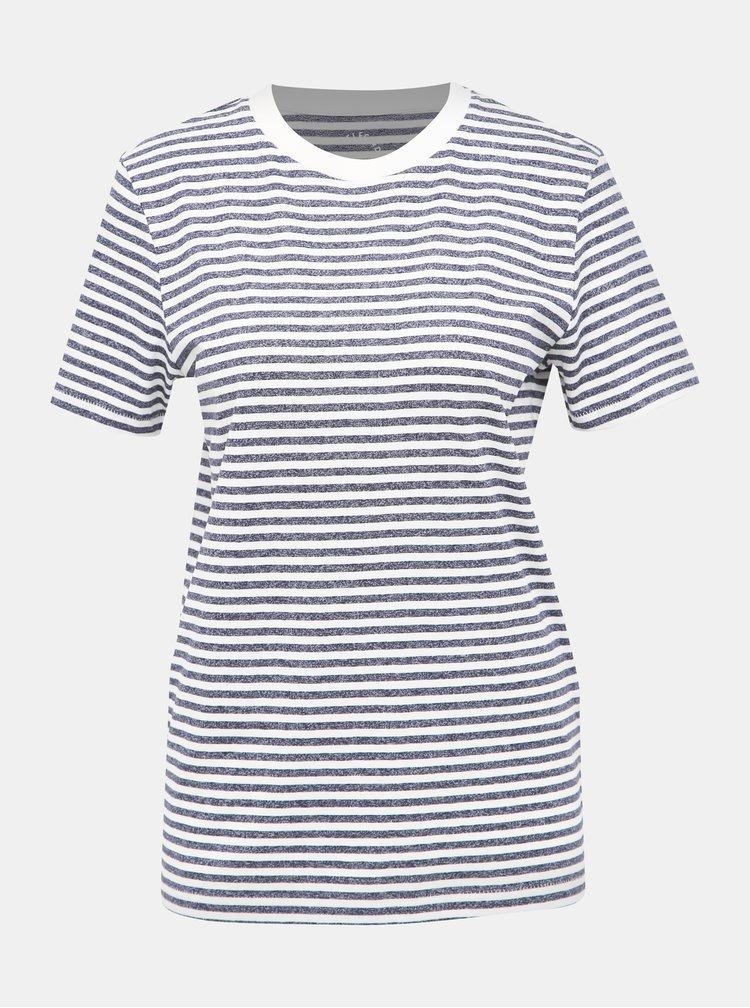 Modro-krémové pruhované basic tričko Selected Femme My Perfect