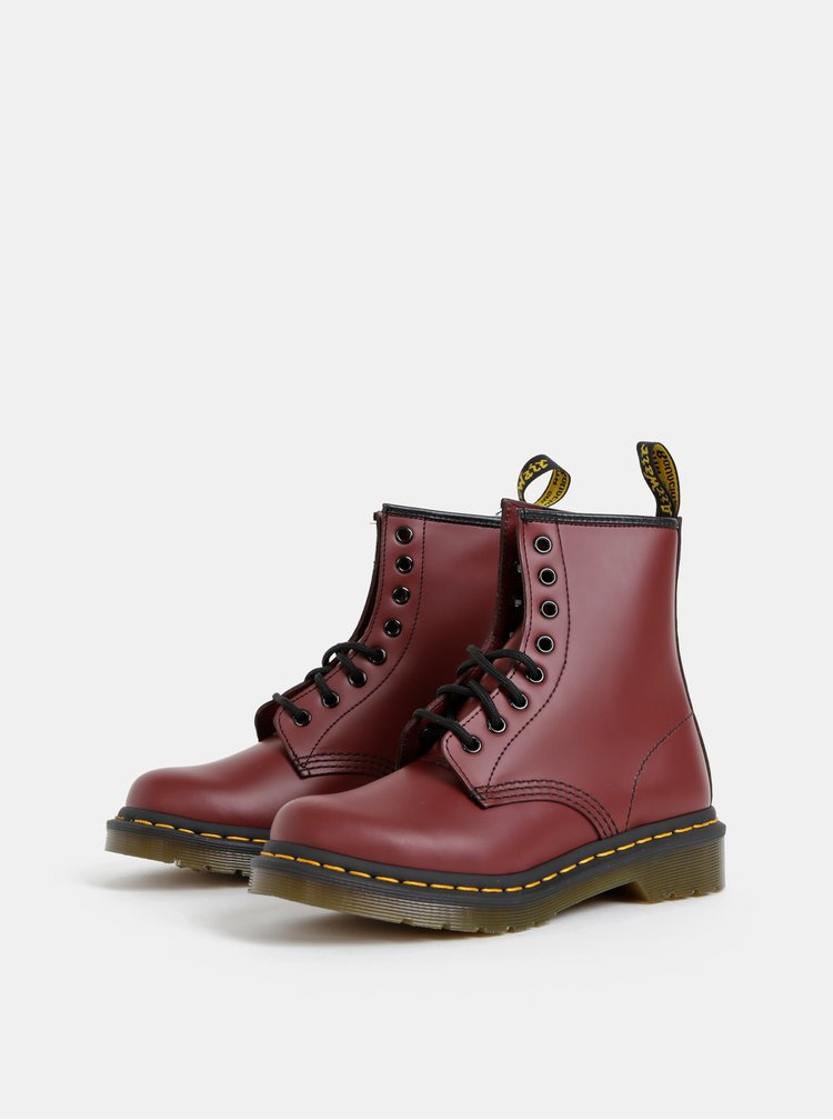 Vínové dámské kožené kotníkové boty Dr. Martens 1460