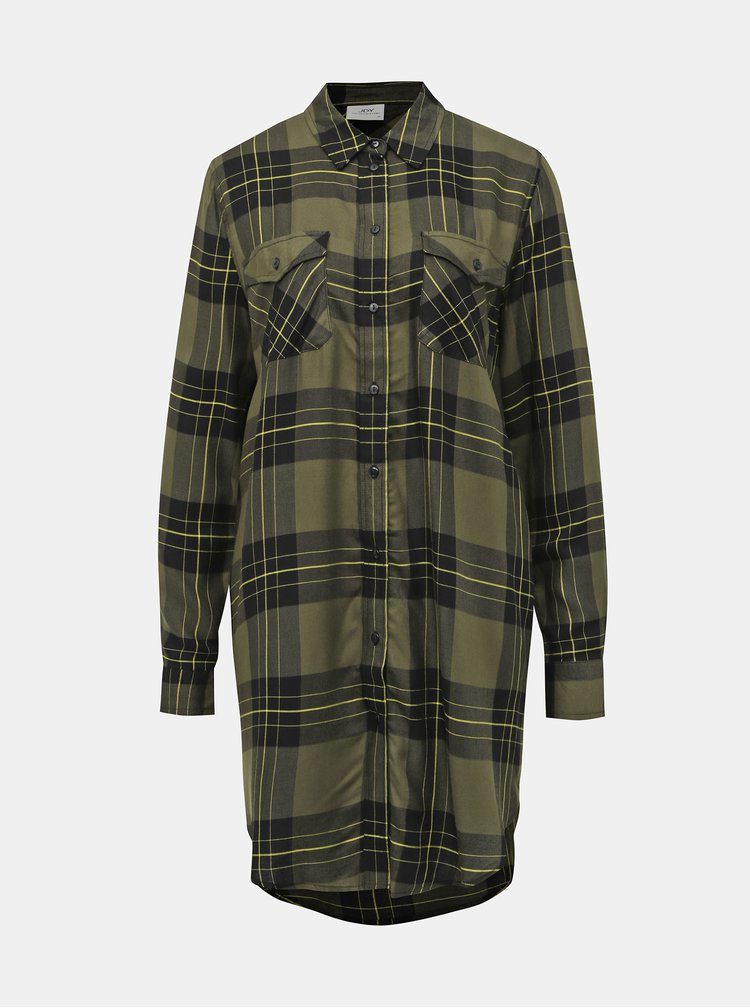 Khaki kostkovaná dlouhá košile Jacqueline de Yong Bear