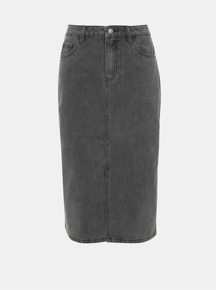 Šedá rifľová sukňa s rozparkom Jacqueline de Yong Jane