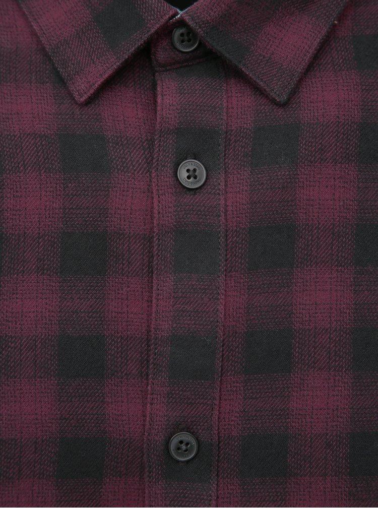 Vínová kostkovaná slim fit košile ONLY & SONS Emil