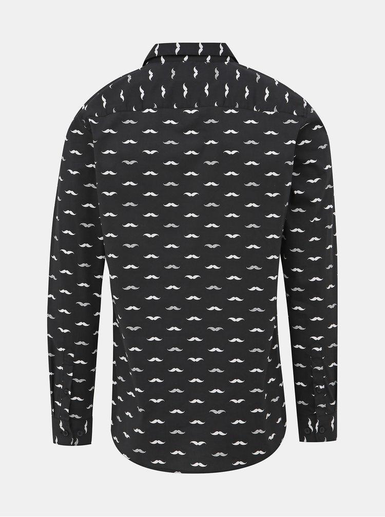 Černá vzorovaná slim fit košile ONLY & SONS France