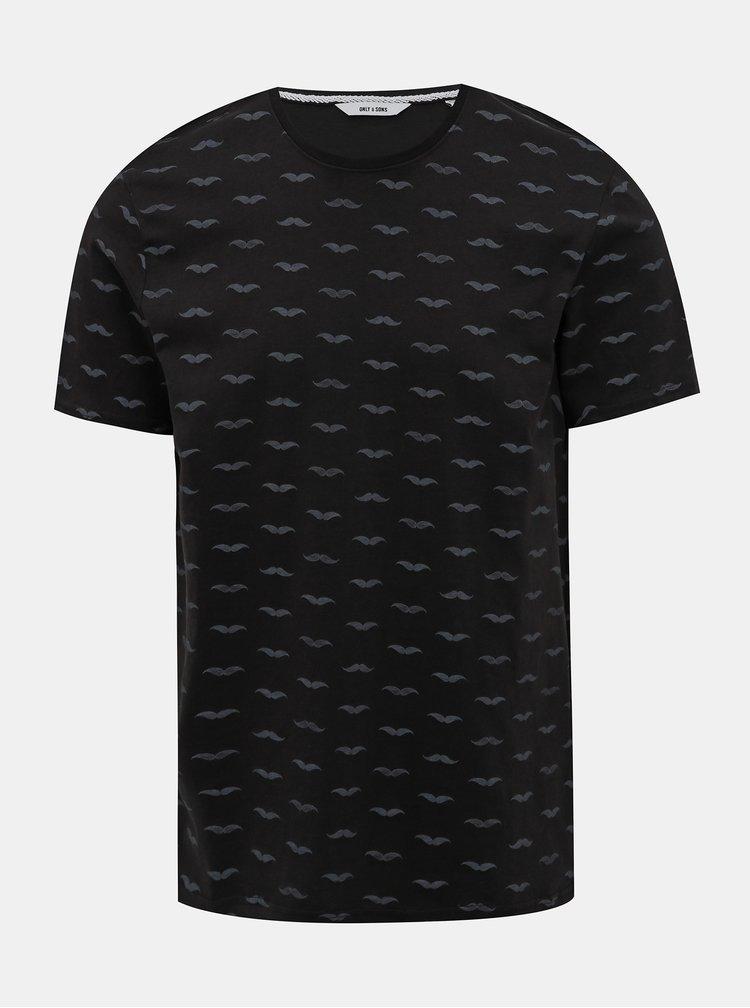Černé vzorované tričko ONLY & SONS Seaton