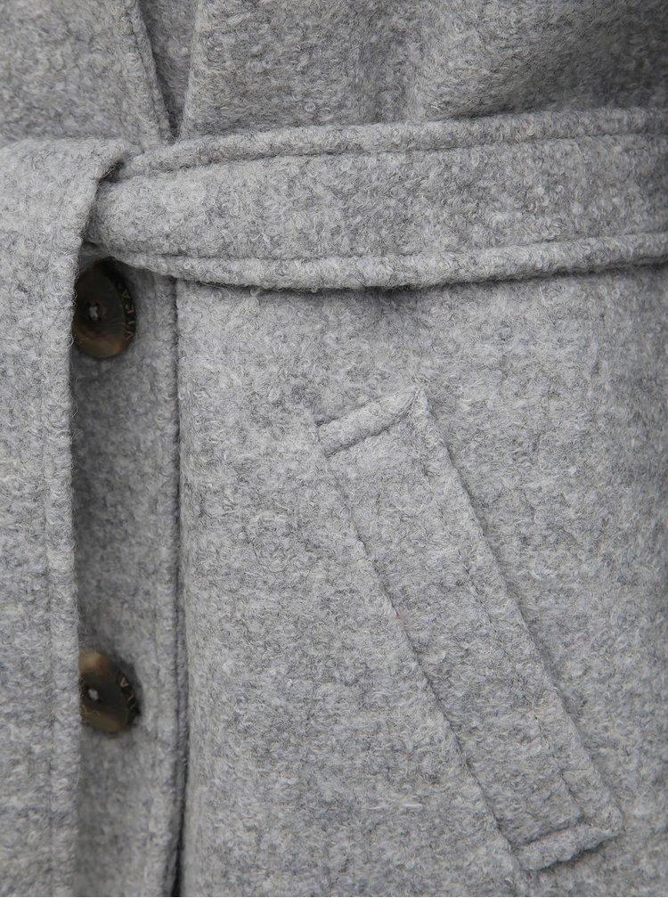 Svetlošedý vlnený kabát VILA