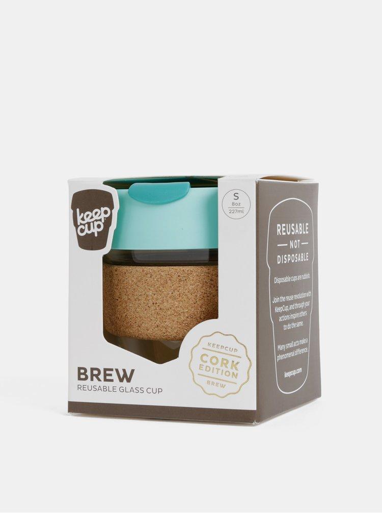 Tyrkysový skleněný cestovní hrnek KeepCup Brew small 227 ml