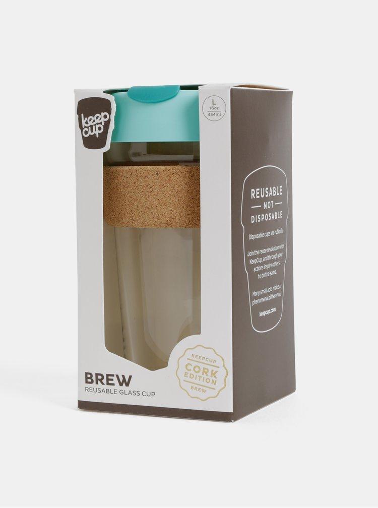 Tyrkysový skleněný cestovní hrnek KeepCup Brew large 454 ml