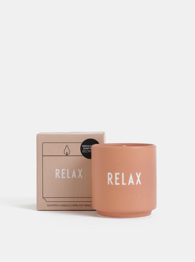 Starorůžová vonná svíčka Design Letters Relax