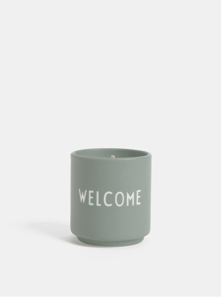 Světle zelená vonná svíčka Design Letters Welcome