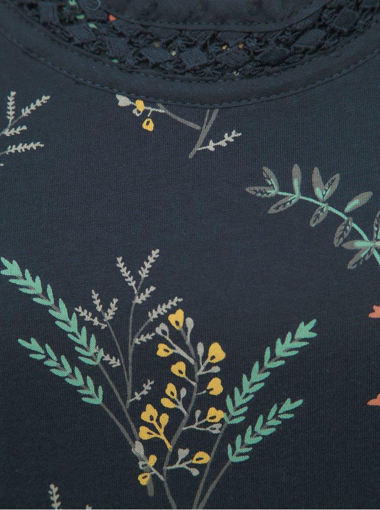 Tmavomodré kvetované tričko Brakeburn