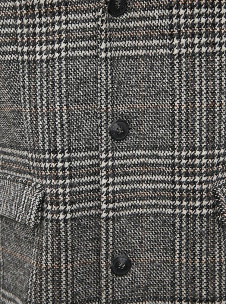 Šedý kostkovaný kabát Lindbergh