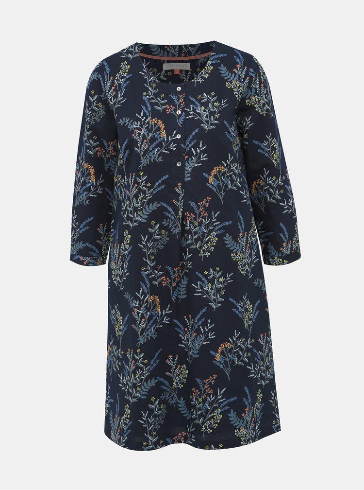 Tmavě modré lněné květované šaty Brakeburn