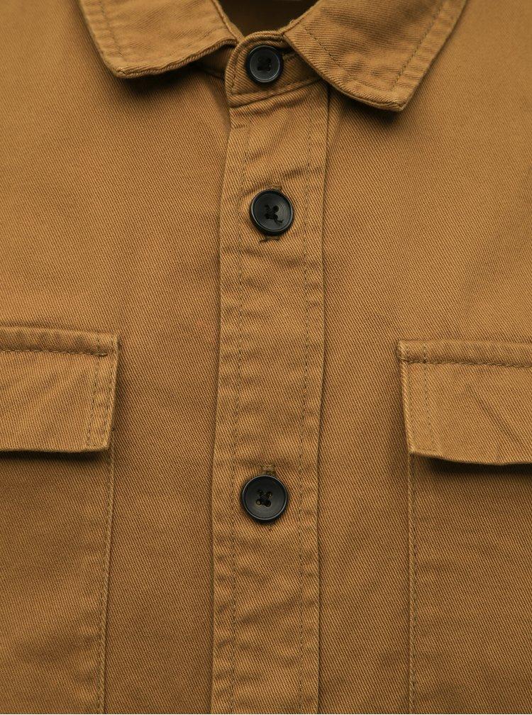 Hnědá slim fit košile s kapsami Lindbergh