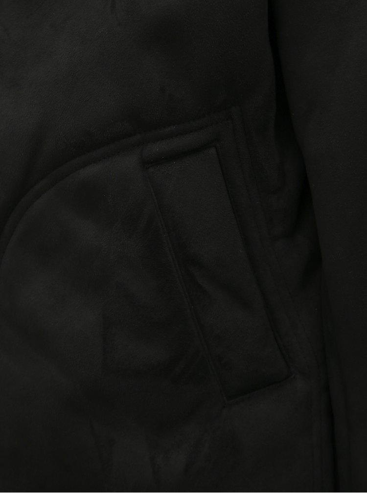 Čierna bunda v semišovej úprave s umelým kožúškom Lindbergh