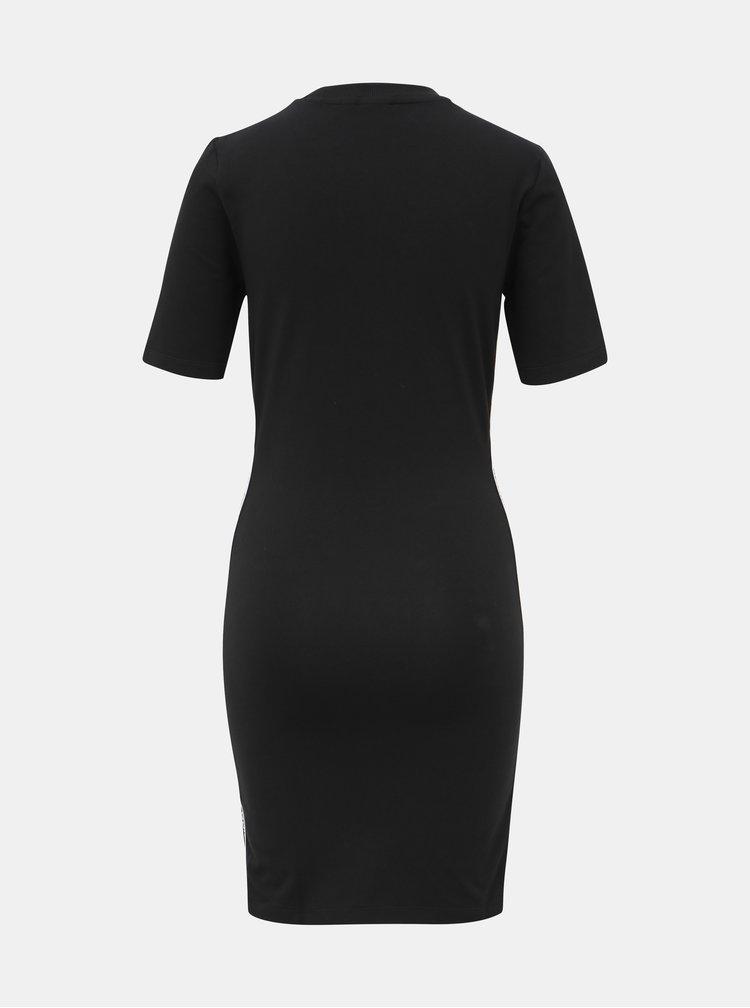 Černé pouzdrové šaty s lampasem adidas Originals