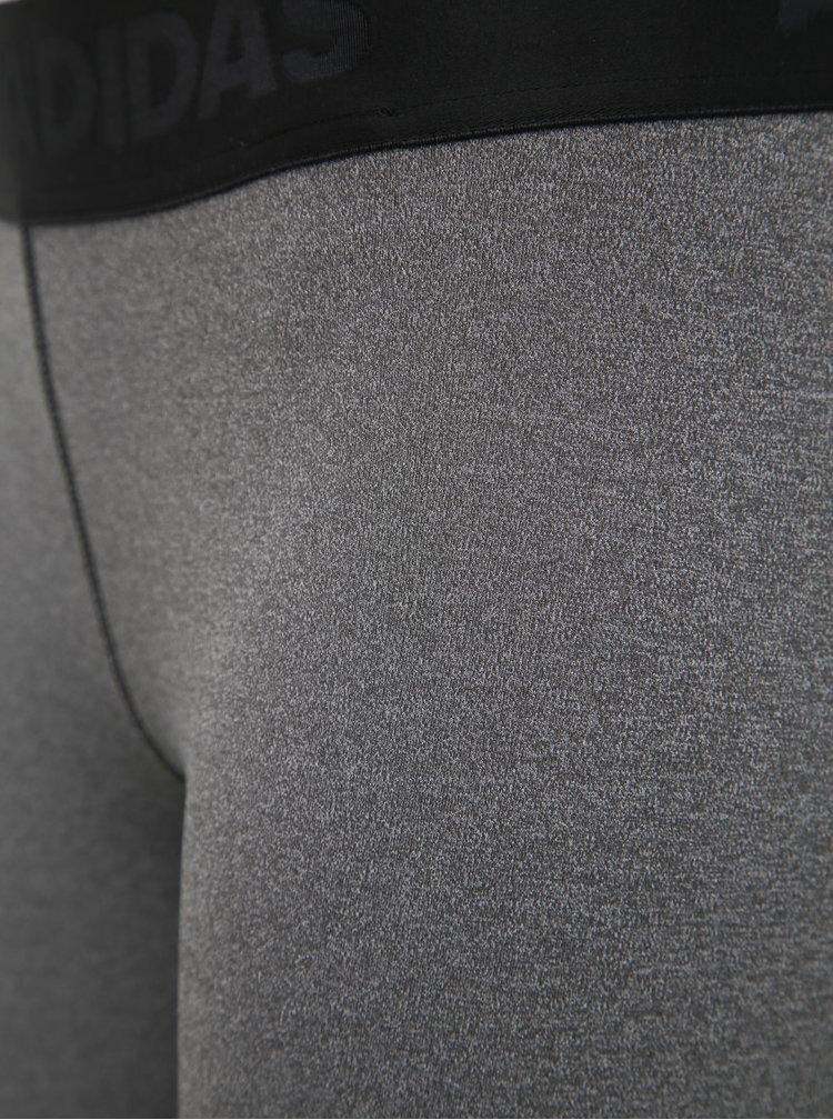 Tmavošedé dámske legíny s potlačou adidas Performance