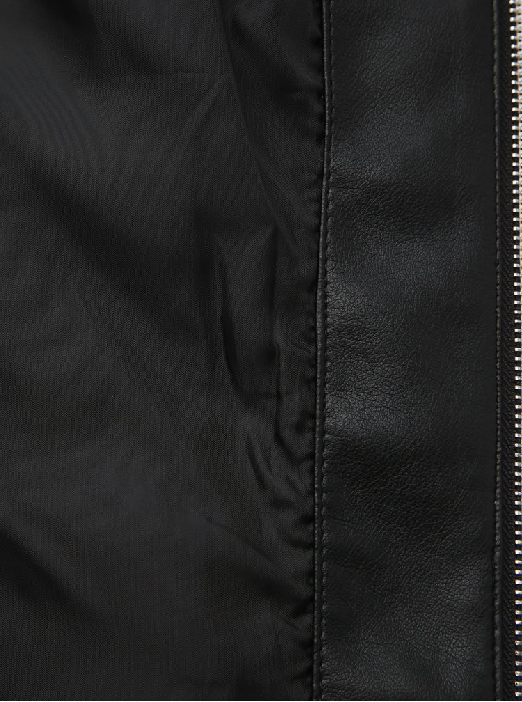 Černá koženková bunda Dorothy Perkins Tall