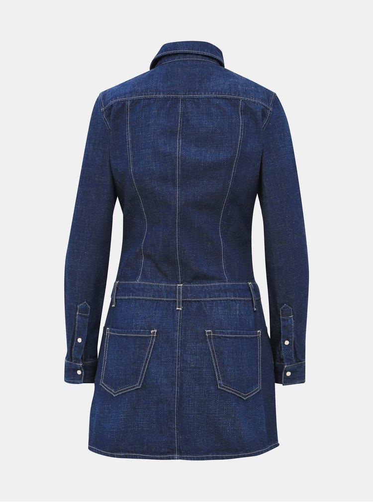 Tmavomodré rifľové košeľové šaty Pepe Jeans Susanna