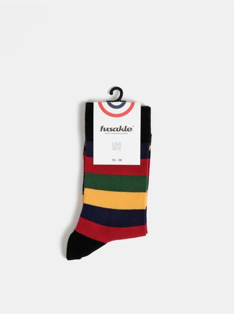 Červeno-černé pruhované ponožky Fusakle Multikulturalista