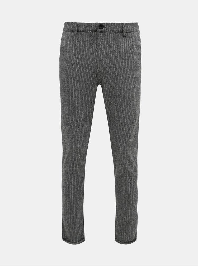 Šedé pruhované kalhoty Shine Original