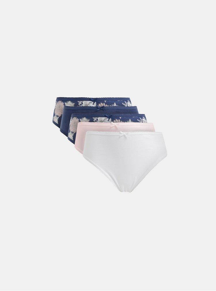 Sada piatich nohavičiek v modrej, bielej a rúžovej farbe M&Co