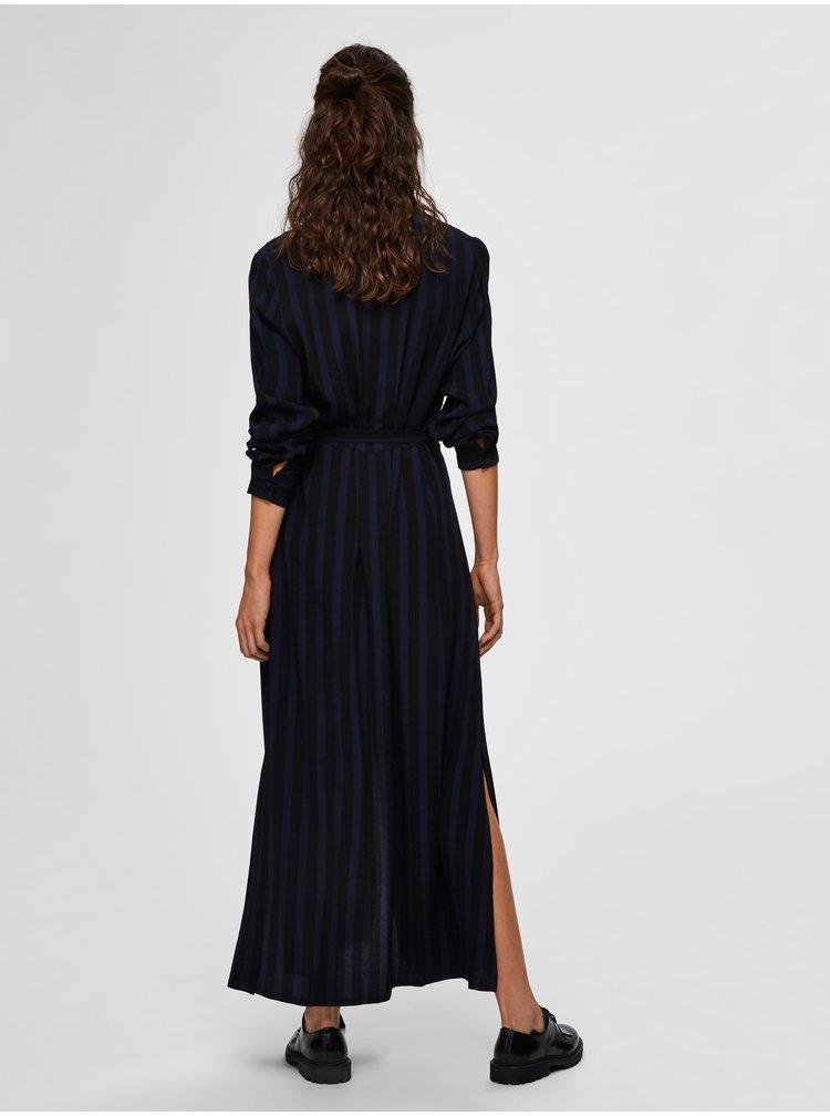 Modro-čierne pruhované košiľové maxišaty Selected Femme Florenta