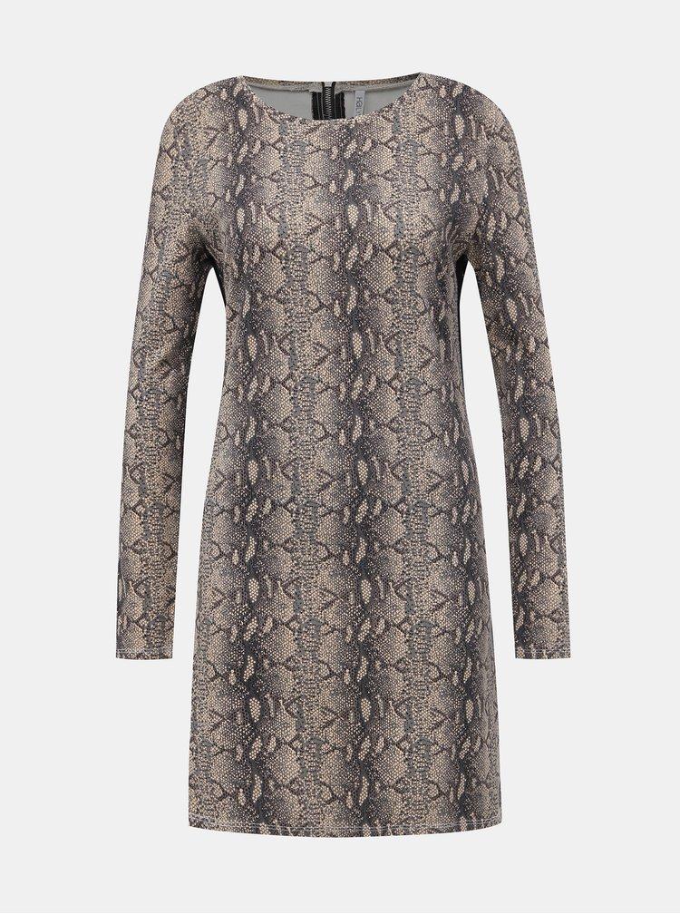 Béžové šaty s hadím vzorem a lampasem Haily´s Cora