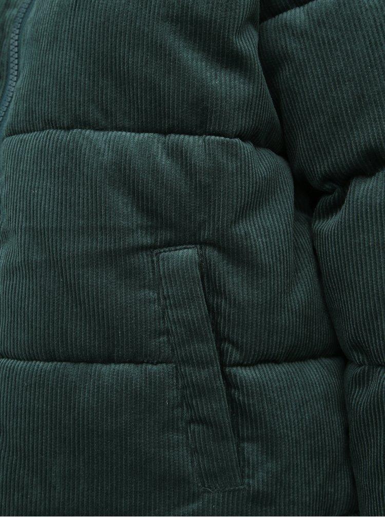 Tmavozelená dámska menčestrová prešívaná zimná bunda Haily´s Cordy