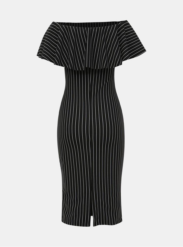 Čierne pruhované púzdrové šaty Haily´s Diva