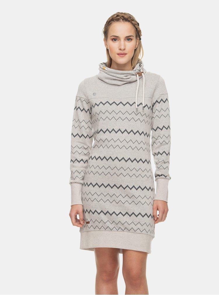 Světle šedé vzorované mikinové šaty Ragwear Chloe