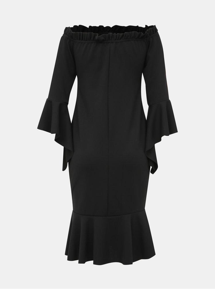 Čierne púzdrové šaty s volánmi Haily´s Joana